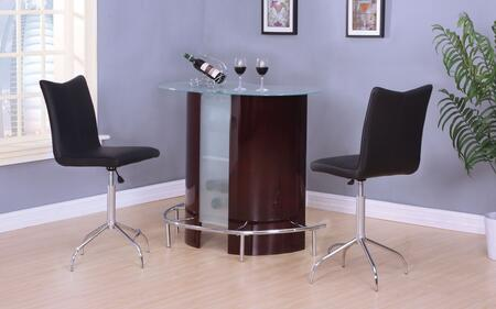 Vindex 71295T2C 3 PC Bar Table Set with Bar Table + 2 Swivel Chairs in Wine and Chrome