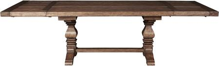 8854131 72 inch  American Attitude Double Pedestal Table with Two Matching 18 inch  Leaves  Turned posts  Distressed Detailing and Stretchers in