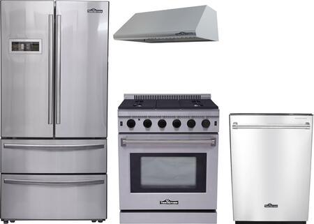 4-Piece Stainless Steel Kitchen Package with HRF3601F 36 inch  French Door Refrigerator  LRG3001U 30 inch  Freestanding Gas Range  HRH3005U 30 inch  Under Cabinet Hood  and