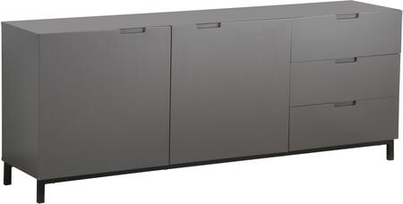 LS-502-G 70 inch  Sideboard with 3 Drawers  2 Doors  Black Coated Metal Legs and Matte Lacquer Finish in Dark