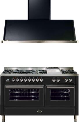 """2-Piece Emerald Green Kitchen Package with UMT150FDMPVS 60"""""""" Freestanding Dual Fuel Range (7 Burners  Griddle  2 Convection Ovens) and UAM150VS 60"""""""" Wall Mount"""" 721666"""