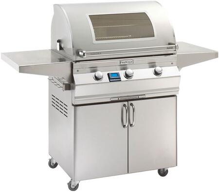 A660S5E1N61W Aurora 63 inch  Cart with 30 inch  Natural Gas Grill  E Burners  Magic View Window   2 Fold Down Shelves  Digital Thermometer  and Up to 75000 BTUs Heat