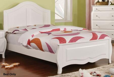 Roxana Collection CM7940T-BED Twin Size Bed with Soft Curved Design  Camel Back Headboard  Solid Wood and Wood Veneers Construction in White