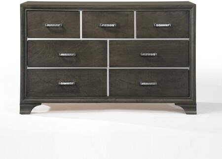 Carine Collection 26265 59 inch  Dresser with 7 Drawers  Metal Hardware  Wooden Bracket Leg  Felt Lined Top Drawers  Acrylic and Solid Rubberwood Materials in Grey