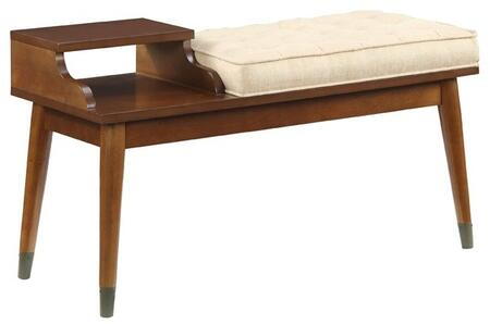 Baptis Collection 96774 36 inch  Bench with Storage  Welt Trim Edge  Tapered Legs  Fabric Seat Cushion  Rubberwood and Veneer Materials in Walnut