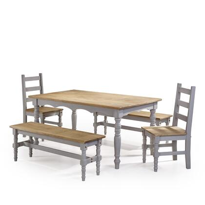 CSJ205 Jay 5-Piece Solid Wood Dining Set with 2 Benches  2 Chairs  and 1 Table in Gray