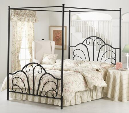 348BFPR Dover Full Size Canopy Bed Set with Rails Included  Scroll Design and Tubular Steel Construction Textured Black