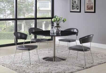 Healy Collection 121241-S5 5-Piece Dining Room Set with Round Dining Table and 4 Side Chairs in Black and