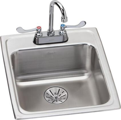 Lustertone LRAD172065PDC 17 inch  x 20 inch  Stainless Steel Single Bowl Top Mount Sink with Faucet Kit  Perfect Drain and ADA