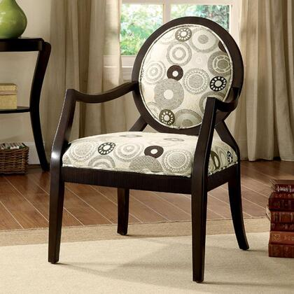 Cairns II CM-AC6930 Accent Chair with Contemporary Style  Padded Fabric Seat  Solid Wood and Others  Espresso Finish in
