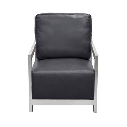 "Zen ZENCHBL 27"" Accent Chair with Stainless Steel Frame  Bonded Leather Cushion and Ladder Back in"