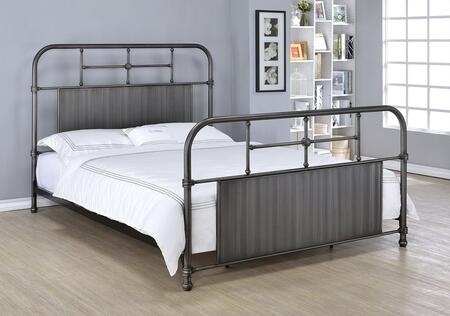 Ivey Collection 25120Q Queen Size Bed with Grey Solid Center Panels  Supported Legs and Metal Tube Frame in Antique Black