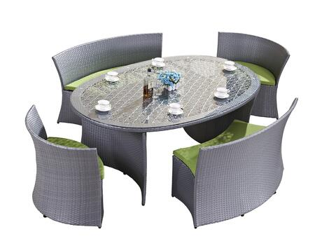 FQ-901-LG-GR 5-Piece Patio Dining Set with Oval Dining Table 2 Chairs and 2 Benches in Light Grey and