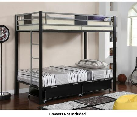 Clifton CM-BK1021 Twin/Twin Bunk Bed with Contemporary Style  Full Metal Construction (Drawers Not Included) in Silver and