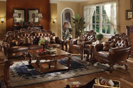 Vendome Collection 52000SET 6 PC Living Room Set with Sofa + 2 Chairs + Coffee Table + 2 Side Tables in Cherry