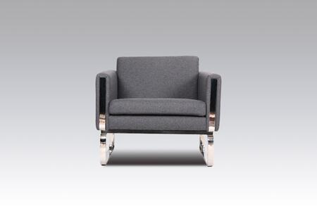 Reki FB0719GREY1 Chair with Track Arms  Stainless Steel Legs and Fabric Upholstery in