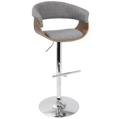 BS-VMO WL+LGY Vintage Mod Mid-Century Modern Adjustable Barstool in Walnut and Light Grey with