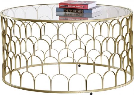 Finn Collection 225-C 36 inch  Coffee Table with Semi-Circular Pattern  Grid Shape  Clear Glass Top  Sculptural Base and Stainless Steel Frame in Gold