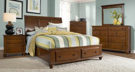 Hayden Place Collection 5 Piece Bedroom Set With King Size Sleigh Storage Bed + 2 Nightstands + Dresser + Mirror: Light