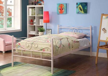 Bailey Collection 400030T Twin Size Platform Bed with Decorative Scrolled Detailing  Open Frame Panels  Slat Kit Included and Steel Metal Construction in