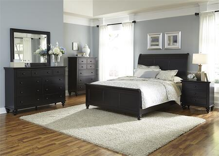 Hamilton III Collection 441-BR-KSLDMCN 5-Piece Bedroom Set with King Sleigh Bed  Dresser  Mirror  Chest and Night Stand in Black