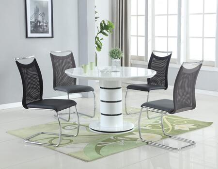 Stephanie Collection STEPHANIE-NADINE-BLK 5-Piece Dining Room Set with Wooden Dining Table in White and 4 Mesh Back Side Chairs in