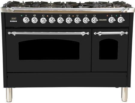 HGR4802DFGB 48 inch  Dual Fuel Natural Gas Range with 7 Sealed Burners  5 cu. ft. Total Capacity True Convection Oven  Griddle  in Glossy