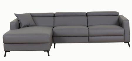 LN-305-DG 106 inch  2-Piece Sectional Sofa with Electrical Recliner and High Quality Eco-leather Seating in Dark