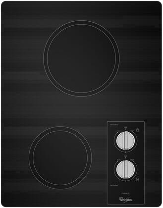 Whirlpool W5CE1522FB 17 Inch Electric Cooktop with 2 Radiant Heating Elements, Smooth Black Ceramic Glass, Built-In Oven Compatible, Push-to-Turn Knobs, Dishwasher Safe Knobs and ADA Compliant W5CE1522FB