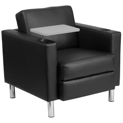 BT-8219-BK-GG Black Leather Guest Chair with Tablet Arm  Tall Chrome Legs and Cup