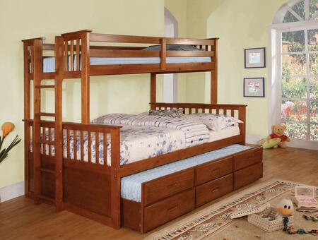 University Collection CM-BK458F-OAK-BED-TRUNDLE Twin Over Full Size Bunk Bed with 3 Drawer Trundle  Slatted Headboards  Full Length Guardrails and Wood