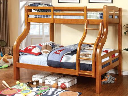 Solpine Collection CM-BK618-BED Twin Over Size Bunk Bed with Curved Wood Design  Attached Ladder  14 PC Slats Top/Bottom  Solid Wood and Wood Veneers