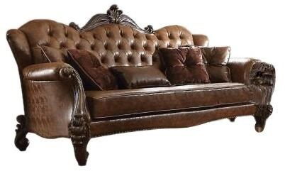 Versailles Collection 52100 92 inch  Sofa with 5 Pillows  Light Brown PU Leather Upholstery  Scrolled Legs  Crystal Like Button Tufted Back and Nail Head Trim in