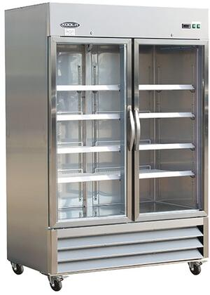 KB54RG 54 inch  Reach-In Bottom Mounted Glass Door Refrigerator with 8 Adjustable Heavy-duty Epoxy Coated Wire Shelves  430 Stainless Steel Exterior  304 Stainless