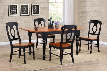 Sunset Selections Collection DLU-TDX3472-C50-BCH5PC 5 Piece Drop Leaf Extension Dining Table Set with Rectangular Table + 4 Napoleon