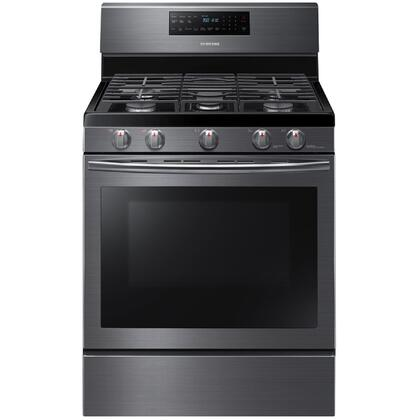 "NX58J5600SG 30"" Freestanding Gas Range with 5.8 cu. ft. Convection Oven  5 Sealed Burners  Self Clean  Auto Shut Off and Griddle in Black Stainless"