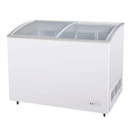 """TSD47CF 47"""" Chest Ice Cream Freezer with High Density PU Insulation  Anti-Rust Coating  Environmental Friendly Refrigeration System  Attractive Curved Glass"""