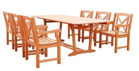 V232SET34 Malibu Eco-friendly 7-piece Outdoor Hardwood Dining Set with Rectangle Extention Table and Arm