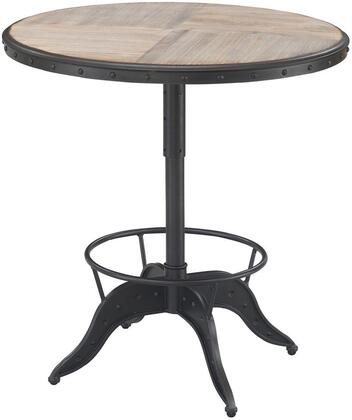 Arris P1-111 Pub Table with Adjustable Height  Nail Head Accents and Thick Wood Top in Natural Driftwood Tone