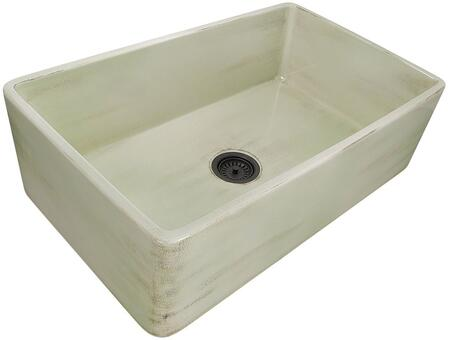 Vineyard Collection FCFS3320S-ShabbyGreen 33 inch  Single Bowl Farmhouse Fireclay Sink with Porcelain Enamel Glaze Finish and Distressed Detailing in Light