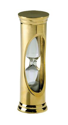 HG001 Brass 3 Minute Sandglass with Brass & Glass Material  in Gold &