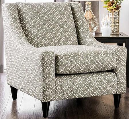 Dorset SM8564-CH-SQ Square Patterned Chair with Tapered Legs  Piped Stitching and Fabric Upholstery in Light