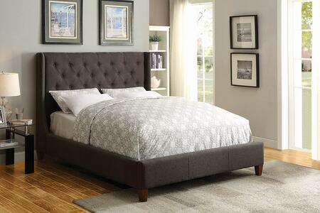 Owen Collection 300453KW California King Size Bed with Fabric Upholstery  Button Tufted Headboard and Sturdy Wood Frame Construction in Dark
