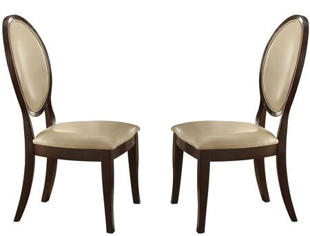 Balint Collection 71262 Set of 2 19 inch  Side Chairs with Oval Shaped Backrest  Tapered Legs  Cream Bycast PU Leather Upholstery and Basswood Veneer Materials in