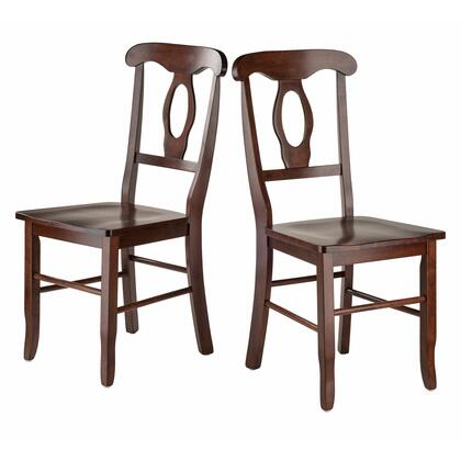 Renaissance 94208 Set of 2 Key Hole Back Chairs with Contoured Seats and Gently Curved Backs in