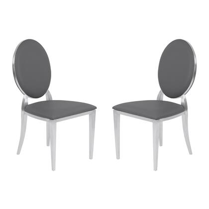 Cielo Collection LCCISIGRBS Contemporary Dining Chair in Gray Faux Leather with Brushed Stainless Steel Finish - Set of