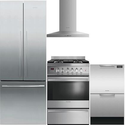 4-Piece Stainless Steel Kitchen Package with RF201ADX5 36 inch  French Door Refrigerator  OR30SDBMX1 30 inch  Freestanding Gas Range  HC30PHTX1 30 inch  Wall Mount Hood  and