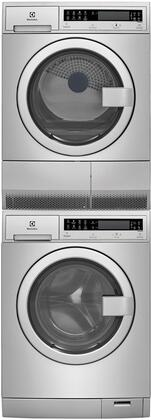 Stainless Steel Front Load Compact Laundry Pair with EFLS210TIS 24 inch  Washer  EFDE210TIS 24 inch  Electric Dryer and STACKIT24 Stacking
