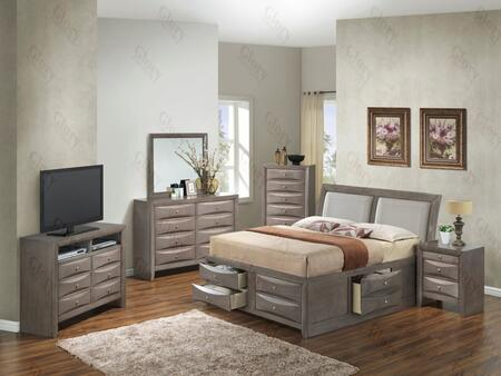G1505ITSB4CHDMNTV2 6 Piece Set including  Twin Size Bed  Chest  Dresser  Mirror  Nightstand and Media Chest  in