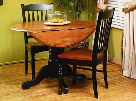 BRIHE6100 British Isles 42 inch  Dropleaf Table with Wood on Wood Glides  20% NC Top Coat Sheen and Solid Hardwood Construction in